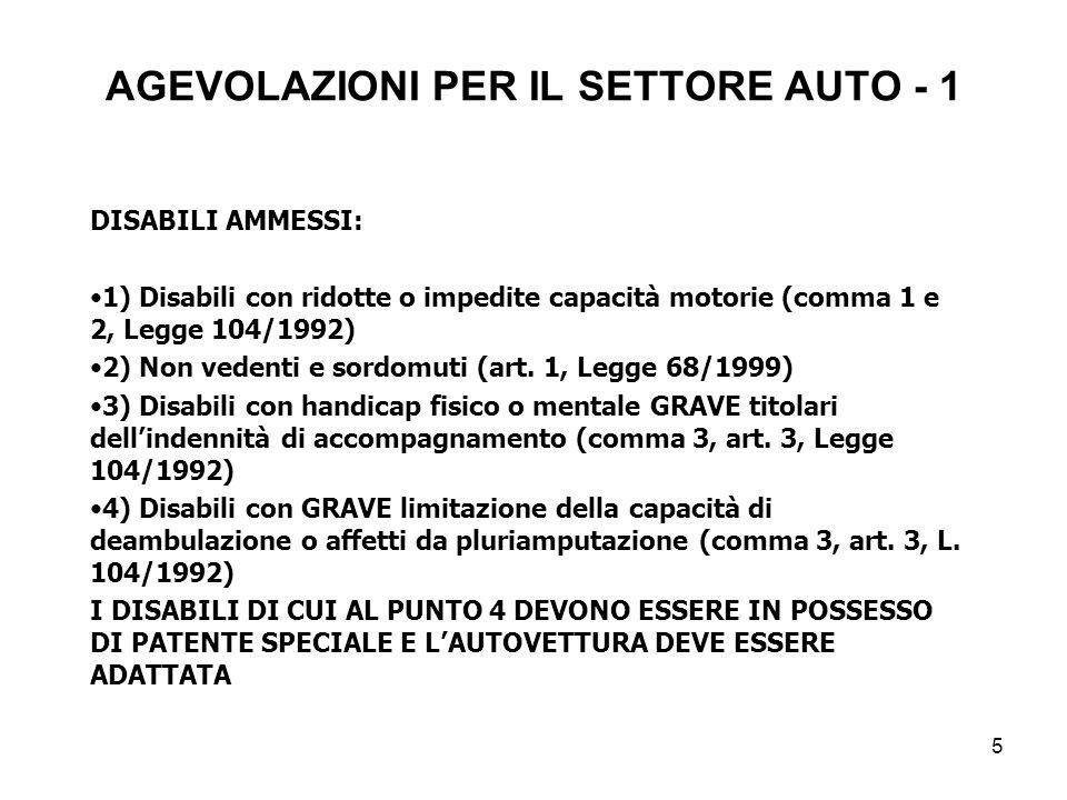 5 AGEVOLAZIONI PER IL SETTORE AUTO - 1 DISABILI AMMESSI: 1) Disabili con ridotte o impedite capacità motorie (comma 1 e 2, Legge 104/1992) 2) Non vedenti e sordomuti (art.