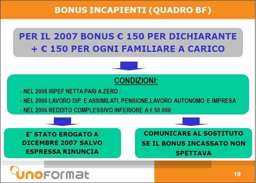 BONUS INCAPIENTI (QUADRO BF) PER IL 2007 BONUS 150 PER DICHIARANTE + 150 PER OGNI FAMILIARE A CARICO E STATO EROGATO A DICEMBRE 2007 SALVO ESPRESSA RINUNCIA COMUNICARE AL SOSTITUTO SE IL BONUS INCASSATO NON SPETTAVA CONDIZIONI: - NEL 2006 IRPEF NETTA PARI A ZERO ; - NEL 2006 LAVORO DIP.