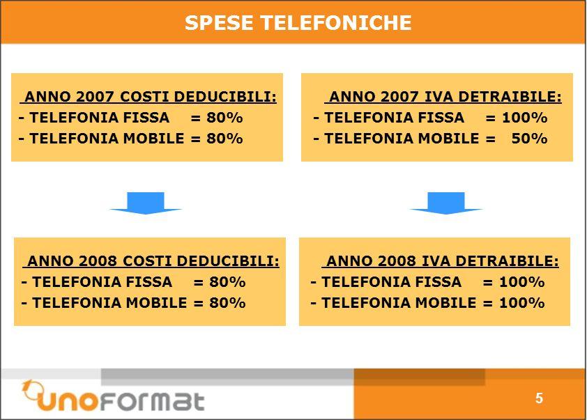 ANNO 2007 COSTI DEDUCIBILI: - TELEFONIA FISSA = 80% - TELEFONIA MOBILE = 80% 5 SPESE TELEFONICHE ANNO 2007 IVA DETRAIBILE: - TELEFONIA FISSA = 100% - TELEFONIA MOBILE = 50% ANNO 2008 COSTI DEDUCIBILI: - TELEFONIA FISSA = 80% - TELEFONIA MOBILE = 80% ANNO 2008 IVA DETRAIBILE: - TELEFONIA FISSA = 100% - TELEFONIA MOBILE = 100%