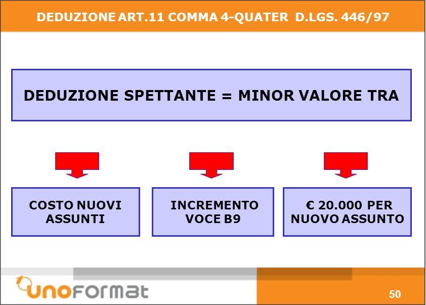COSTO NUOVI ASSUNTI DEDUZIONE SPETTANTE = MINOR VALORE TRA 20.000 PER NUOVO ASSUNTO INCREMENTO VOCE B9 50 DEDUZIONE ART.11 COMMA 4-QUATER D.LGS.