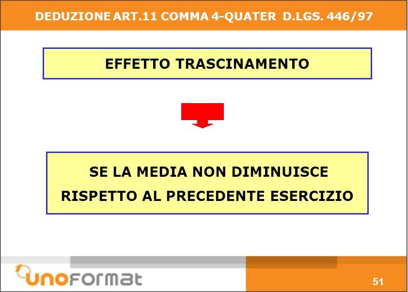 EFFETTO TRASCINAMENTO SE LA MEDIA NON DIMINUISCE RISPETTO AL PRECEDENTE ESERCIZIO 51 DEDUZIONE ART.11 COMMA 4-QUATER D.LGS.