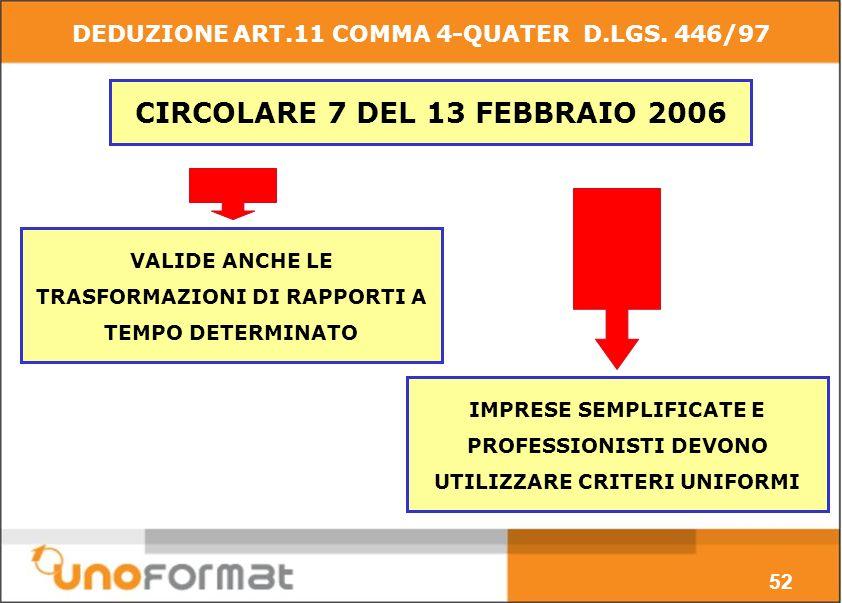 CIRCOLARE 7 DEL 13 FEBBRAIO 2006 VALIDE ANCHE LE TRASFORMAZIONI DI RAPPORTI A TEMPO DETERMINATO IMPRESE SEMPLIFICATE E PROFESSIONISTI DEVONO UTILIZZARE CRITERI UNIFORMI 52 DEDUZIONE ART.11 COMMA 4-QUATER D.LGS.