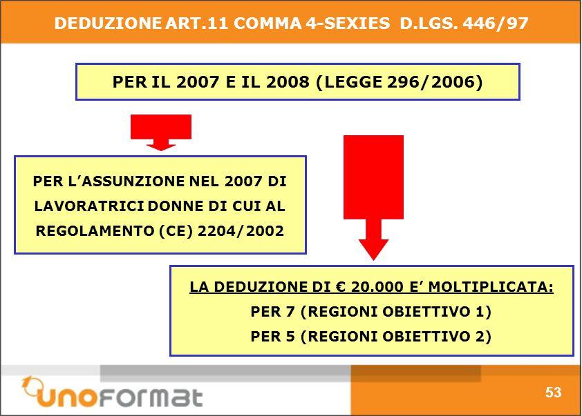 PER IL 2007 E IL 2008 (LEGGE 296/2006) PER LASSUNZIONE NEL 2007 DI LAVORATRICI DONNE DI CUI AL REGOLAMENTO (CE) 2204/2002 53 DEDUZIONE ART.11 COMMA 4-SEXIES D.LGS.