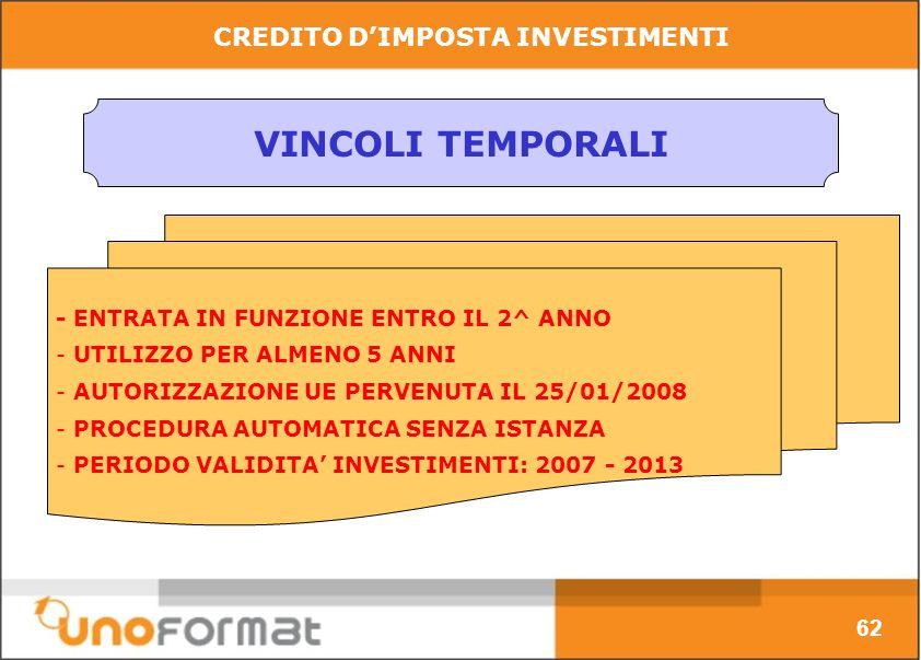 VINCOLI TEMPORALI - ENTRATA IN FUNZIONE ENTRO IL 2^ ANNO - UTILIZZO PER ALMENO 5 ANNI - AUTORIZZAZIONE UE PERVENUTA IL 25/01/2008 - PROCEDURA AUTOMATICA SENZA ISTANZA - PERIODO VALIDITA INVESTIMENTI: 2007 - 2013 CREDITO DIMPOSTA INVESTIMENTI 62