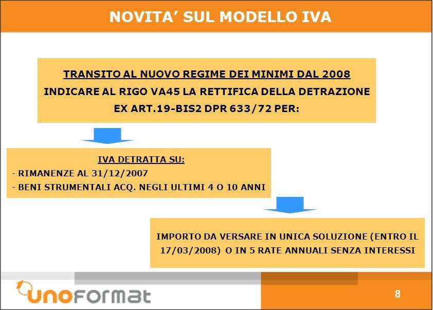 TRANSITO AL NUOVO REGIME DEI MINIMI DAL 2008 INDICARE AL RIGO VA45 LA RETTIFICA DELLA DETRAZIONE EX ART.19-BIS2 DPR 633/72 PER: 8 NOVITA SUL MODELLO IVA IVA DETRATTA SU: - RIMANENZE AL 31/12/2007 - BENI STRUMENTALI ACQ.