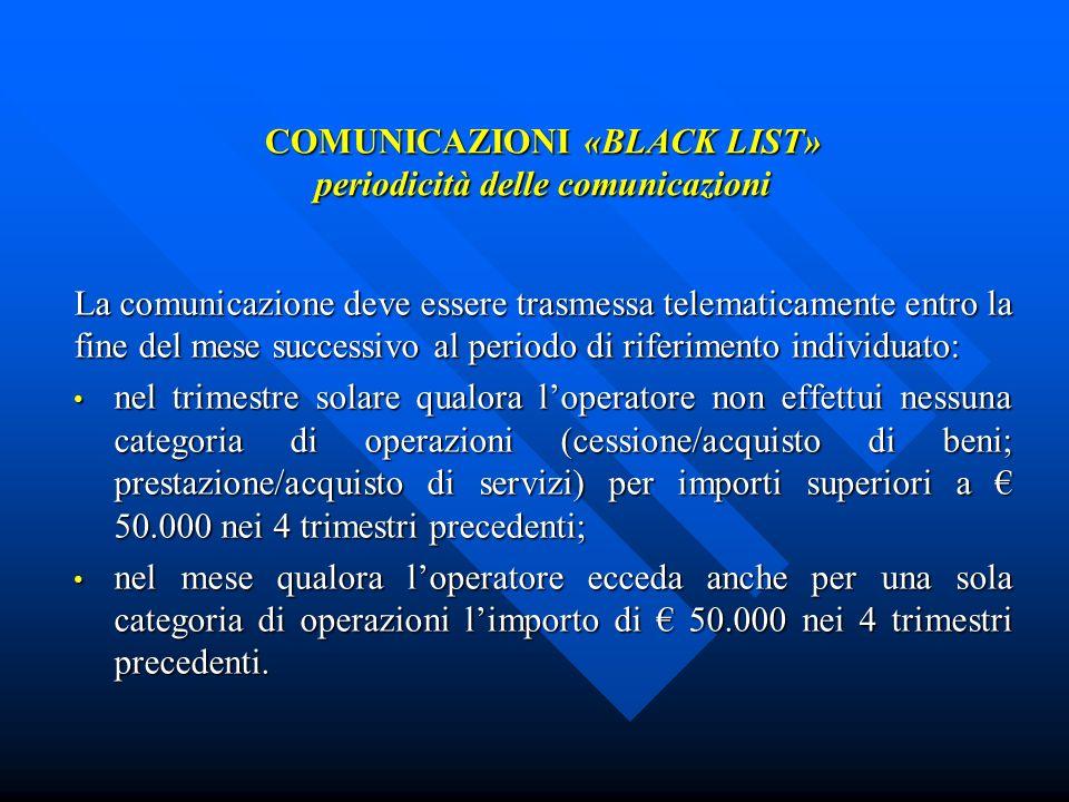 COMUNICAZIONI «BLACK LIST» periodicità delle comunicazioni La comunicazione deve essere trasmessa telematicamente entro la fine del mese successivo al