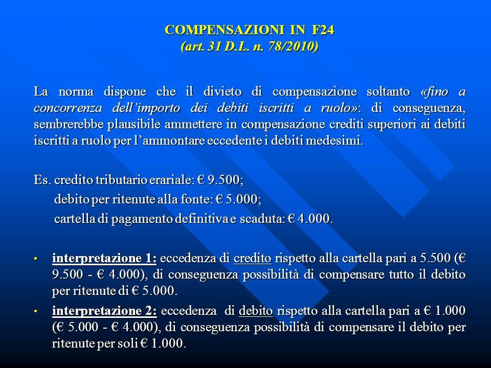 COMPENSAZIONI IN F24 (art. 31 D.L. n. 78/2010) La norma dispone che il divieto di compensazione soltanto «fino a concorrenza dellimporto dei debiti is