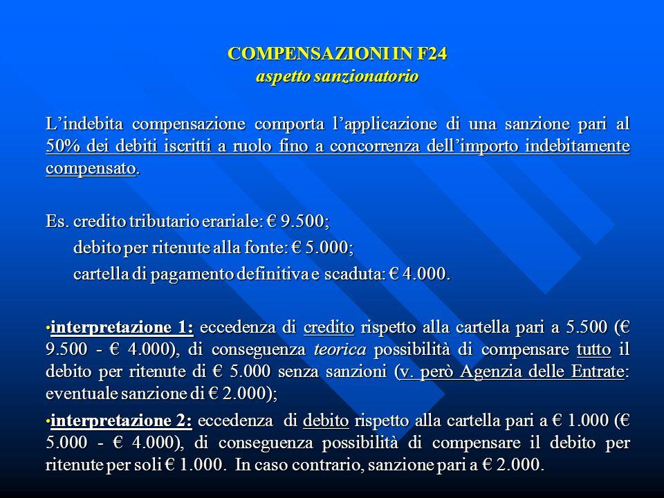 COMPENSAZIONI IN F24 aspetto sanzionatorio Lindebita compensazione comporta lapplicazione di una sanzione pari al 50% dei debiti iscritti a ruolo fino