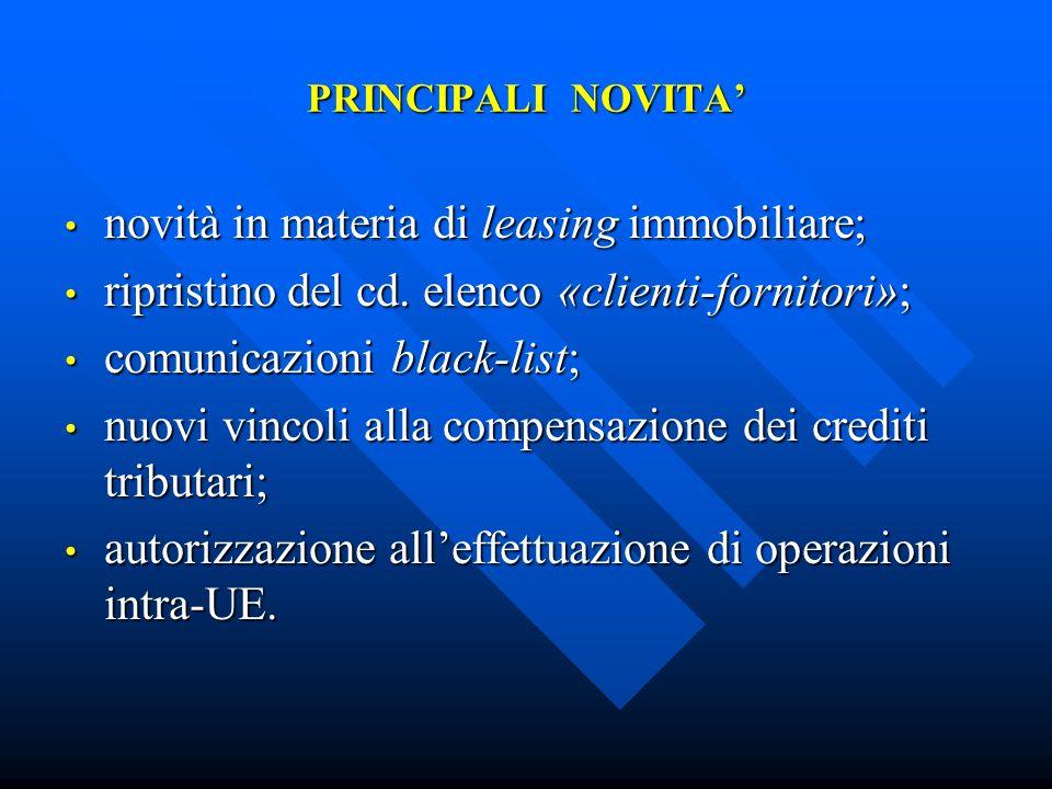 NOVITA IN MATERIA DI LEASING IMMOBILIARE art.1, commi 15-16, Legge n.