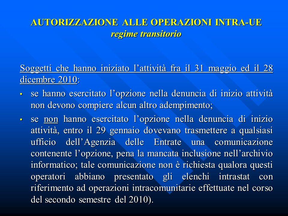 AUTORIZZAZIONE ALLE OPERAZIONI INTRA-UE regime transitorio Soggetti che hanno iniziato lattività fra il 31 maggio ed il 28 dicembre 2010: se hanno ese