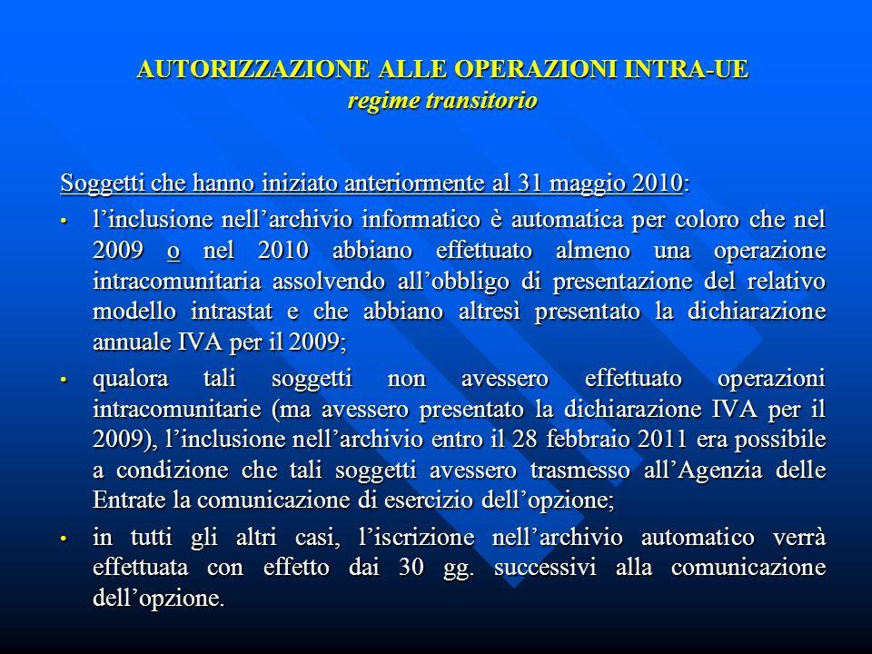 AUTORIZZAZIONE ALLE OPERAZIONI INTRA-UE regime transitorio Soggetti che hanno iniziato anteriormente al 31 maggio 2010: linclusione nellarchivio infor
