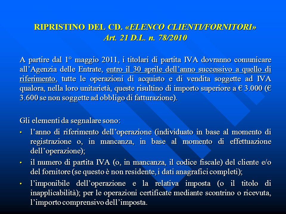 RIPRISTINO DEL CD. «ELENCO CLIENTI/FORNITORI» Art. 21 D.L. n. 78/2010 A partire dal 1° maggio 2011, i titolari di partita IVA dovranno comunicare allA