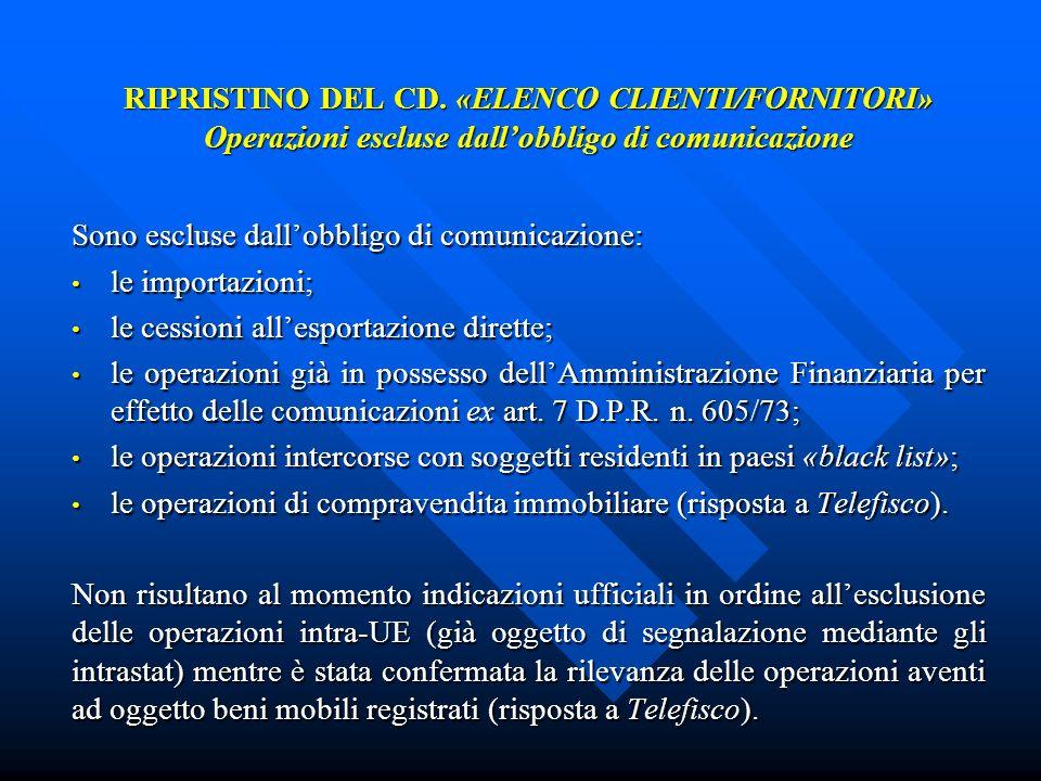 RIPRISTINO DEL CD. «ELENCO CLIENTI/FORNITORI» Operazioni escluse dallobbligo di comunicazione Sono escluse dallobbligo di comunicazione: le importazio