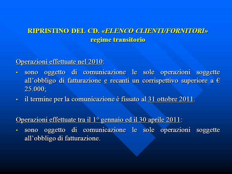 RIPRISTINO DEL CD. «ELENCO CLIENTI/FORNITORI» regime transitorio Operazioni effettuate nel 2010: sono oggetto di comunicazione le sole operazioni sogg