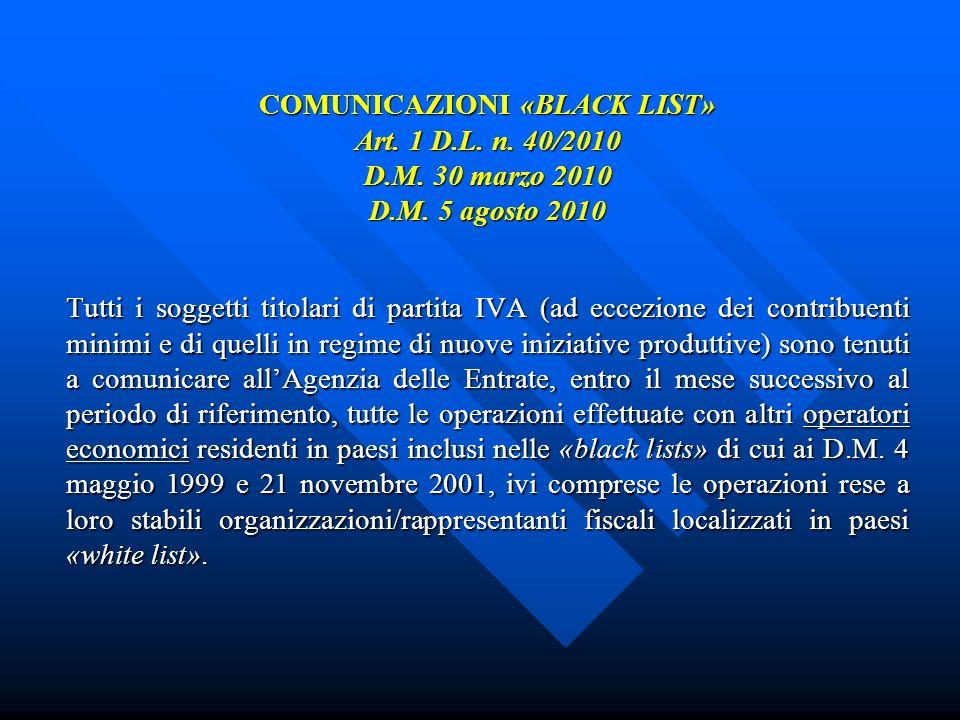 COMUNICAZIONI «BLACK LIST» Art. 1 D.L. n. 40/2010 D.M. 30 marzo 2010 D.M. 5 agosto 2010 Tutti i soggetti titolari di partita IVA (ad eccezione dei con