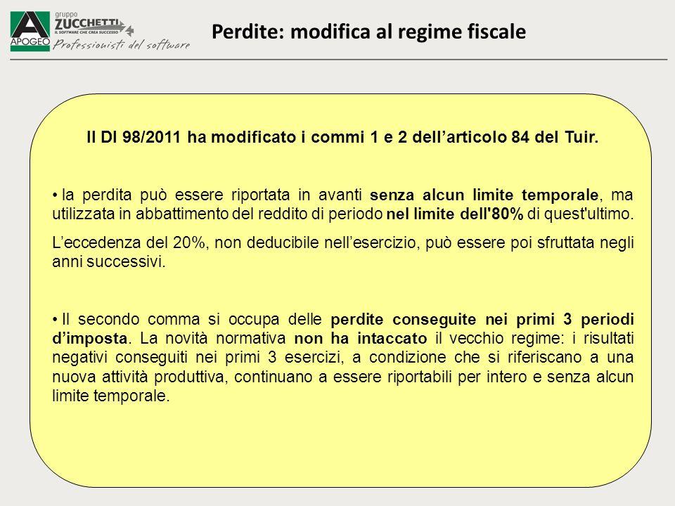 Perdite: modifica al regime fiscale Il Dl 98/2011 ha modificato i commi 1 e 2 dellarticolo 84 del Tuir.