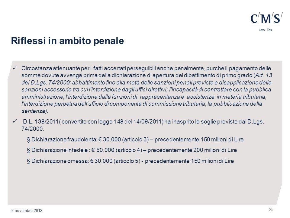 Riflessi in ambito penale 25 8 novembre 2012 Circostanza attenuante per i fatti accertati perseguibili anche penalmente, purché il pagamento delle som