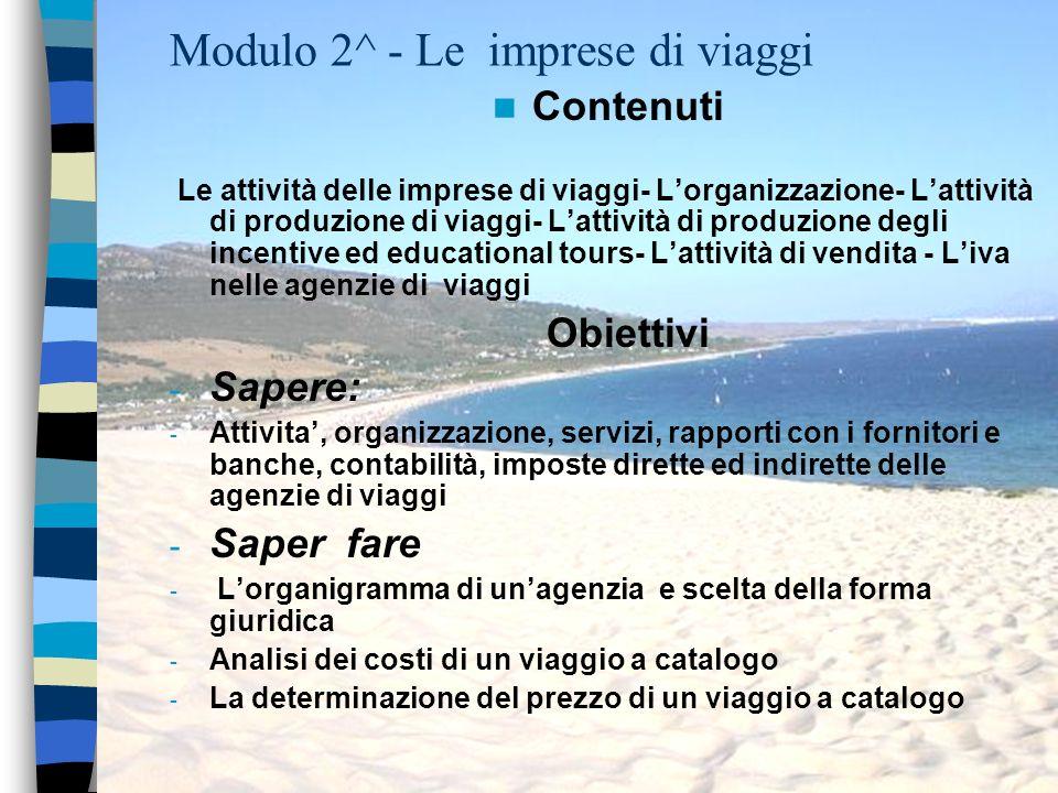 Modulo 2^ - Le imprese di viaggi Contenuti Le attività delle imprese di viaggi- Lorganizzazione- Lattività di produzione di viaggi- Lattività di produ