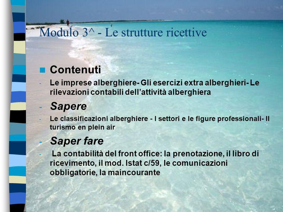 Modulo 3^ - Le strutture ricettive Contenuti - Le imprese alberghiere- Gli esercizi extra alberghieri- Le rilevazioni contabili dellattività alberghie
