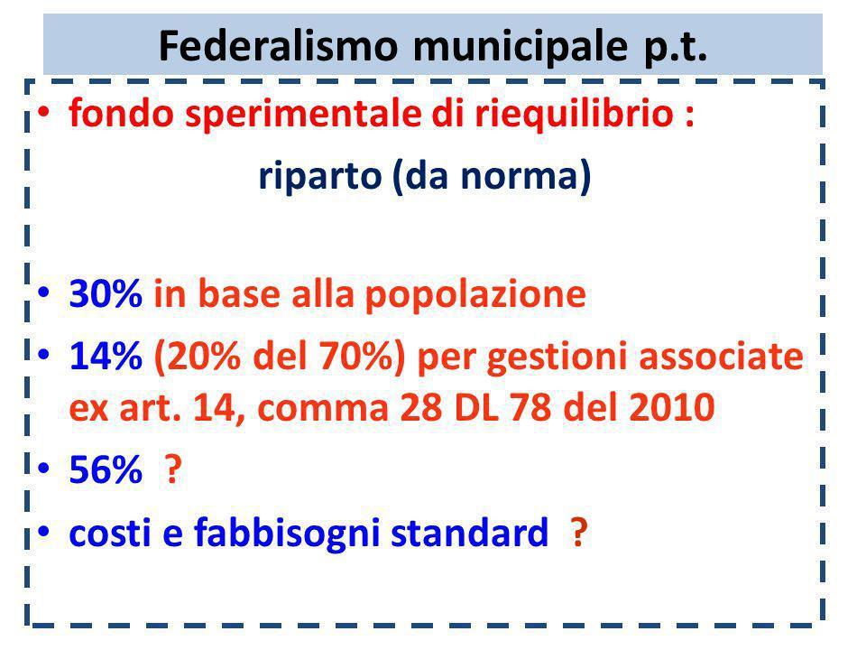 Federalismo municipale p.t. fondo sperimentale di riequilibrio : riparto (da norma) 30% in base alla popolazione 14% (20% del 70%) per gestioni associ