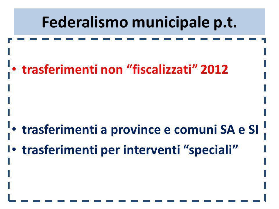 Federalismo municipale p.t. trasferimenti non fiscalizzati 2012 trasferimenti a province e comuni SA e SI trasferimenti per interventi speciali