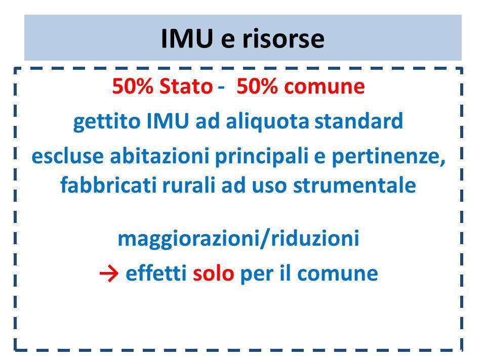 IMU e risorse 50% Stato - 50% comune gettito IMU ad aliquota standard escluse abitazioni principali e pertinenze, fabbricati rurali ad uso strumentale maggiorazioni/riduzioni effetti solo per il comune