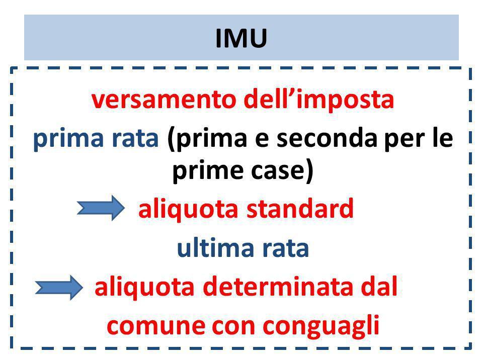 IMU versamento dellimposta prima rata (prima e seconda per le prime case) aliquota standard ultima rata aliquota determinata dal comune con conguagli