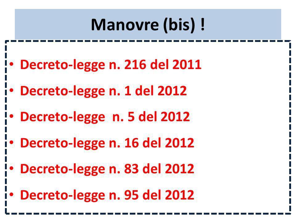 Manovre (bis) ! Decreto-legge n. 216 del 2011 Decreto-legge n. 1 del 2012 Decreto-legge n. 5 del 2012 Decreto-legge n. 16 del 2012 Decreto-legge n. 83