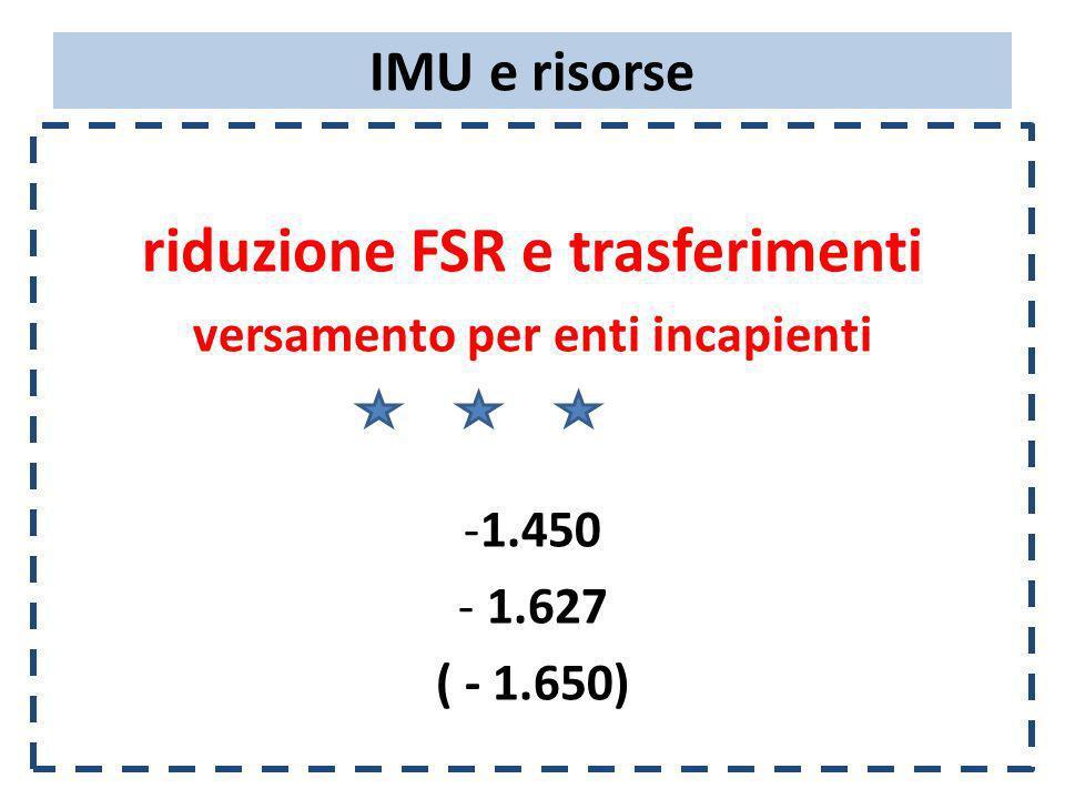 IMU e risorse riduzione FSR e trasferimenti versamento per enti incapienti -1.450 - 1.627 ( - 1.650)