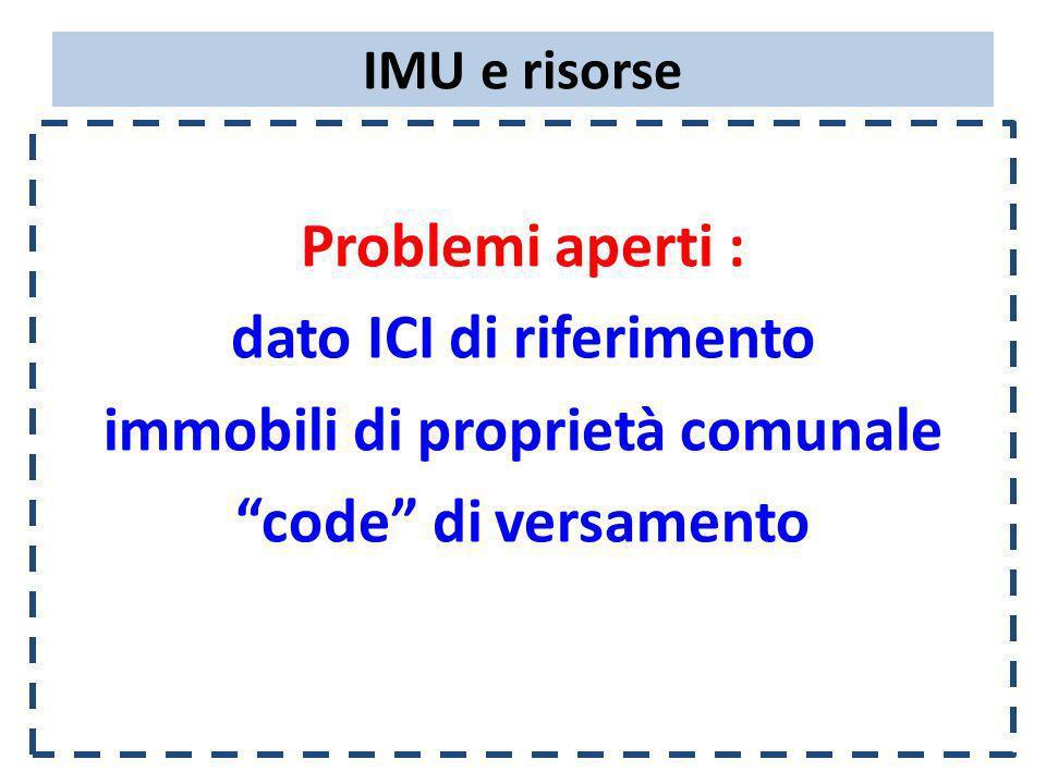 IMU e risorse Problemi aperti : dato ICI di riferimento immobili di proprietà comunale code di versamento