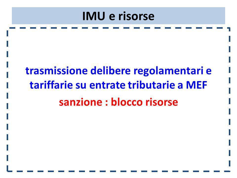 IMU e risorse trasmissione delibere regolamentari e tariffarie su entrate tributarie a MEF sanzione : blocco risorse