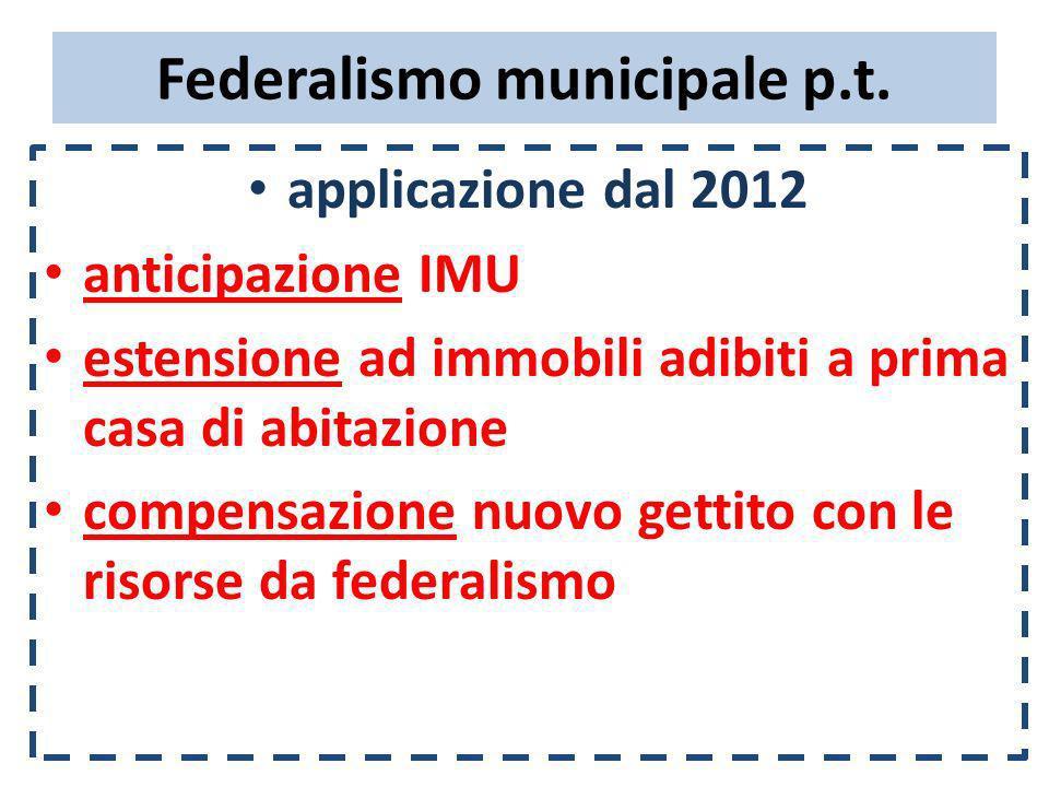 Federalismo municipale p.t. applicazione dal 2012 anticipazione IMU estensione ad immobili adibiti a prima casa di abitazione compensazione nuovo gett