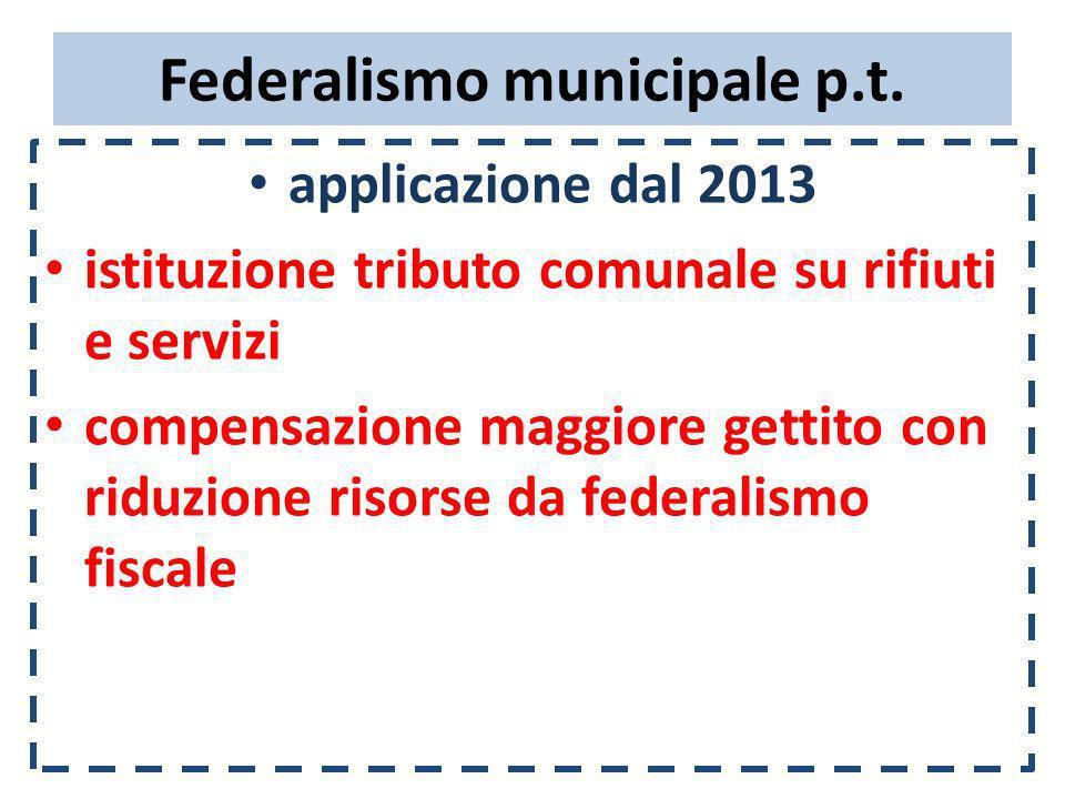 Federalismo municipale p.t. applicazione dal 2013 istituzione tributo comunale su rifiuti e servizi compensazione maggiore gettito con riduzione risor