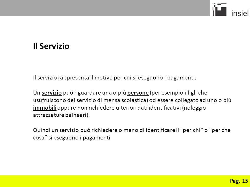 Pag. 15 Il Servizio Il servizio rappresenta il motivo per cui si eseguono i pagamenti. Un servizio può riguardare una o più persone (per esempio i fig