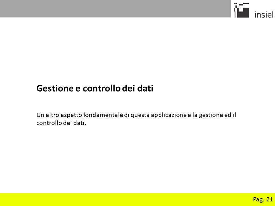 Pag. 21 Gestione e controllo dei dati Un altro aspetto fondamentale di questa applicazione è la gestione ed il controllo dei dati.
