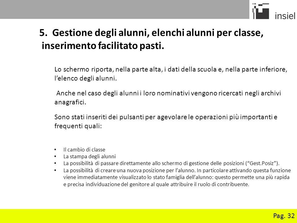 Pag.32 5. Gestione degli alunni, elenchi alunni per classe, inserimento facilitato pasti.