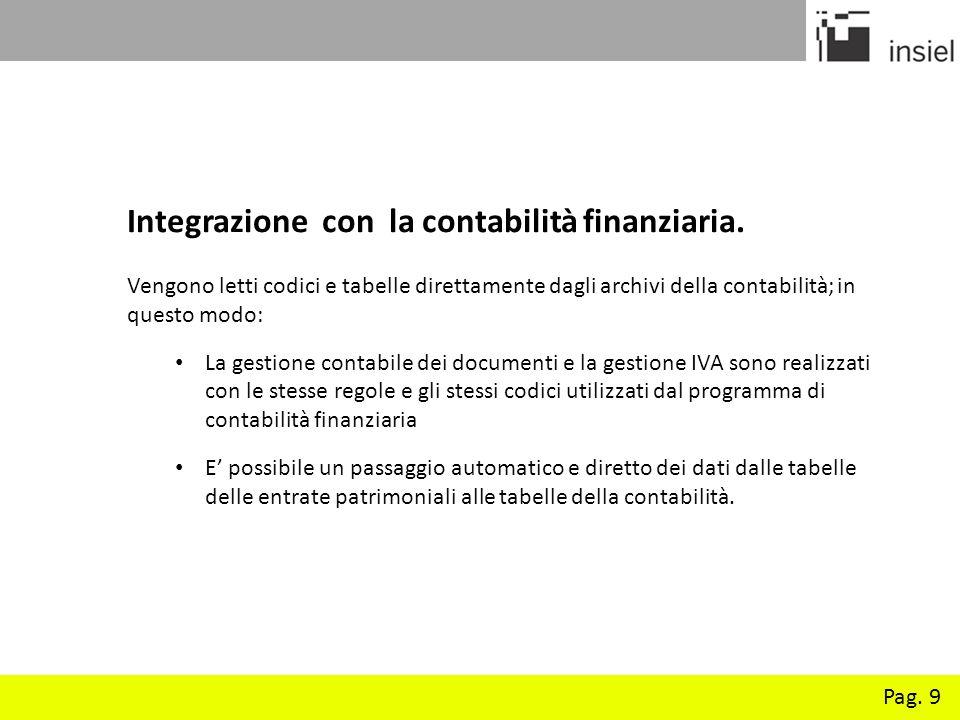 Pag. 9 Integrazione con la contabilità finanziaria. Vengono letti codici e tabelle direttamente dagli archivi della contabilità; in questo modo: La ge