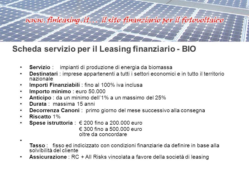 Servizio : impianti di produzione di energia da biomassa Destinatari : imprese appartenenti a tutti i settori economici e in tutto il territorio nazio