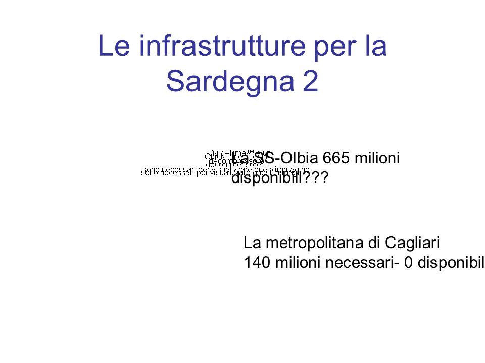 Le infrastrutture per la Sardegna 2 La SS-Olbia 665 milioni disponibili .
