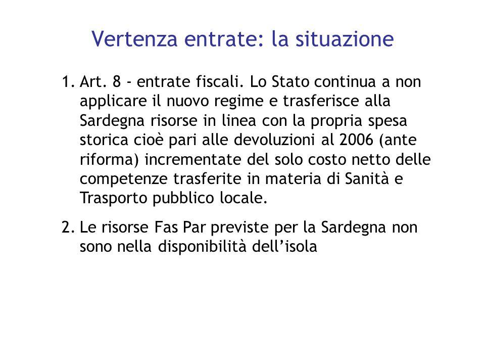 1.Art. 8 - entrate fiscali. Lo Stato continua a non applicare il nuovo regime e trasferisce alla Sardegna risorse in linea con la propria spesa storic