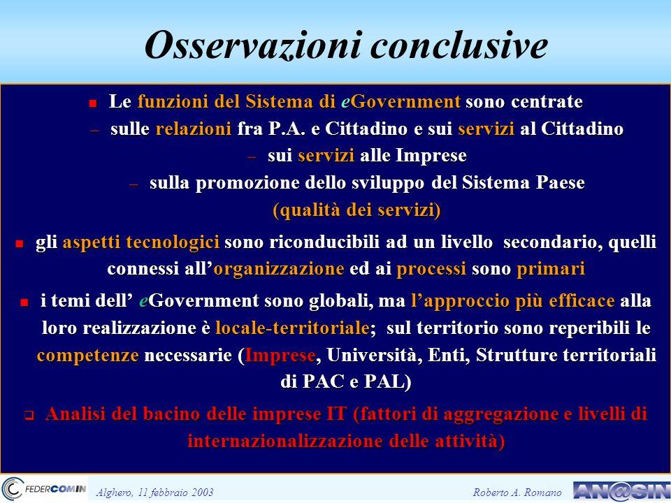 Osservazioni conclusive Alghero, 11 febbraio 2003Roberto A.