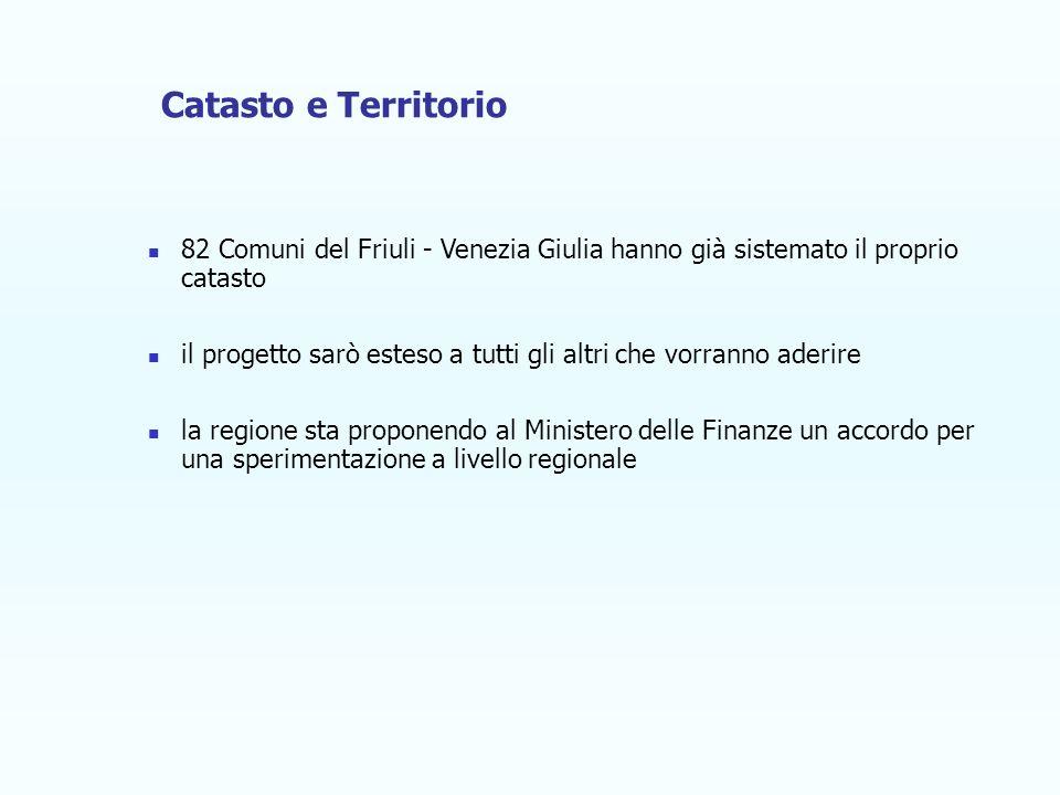 82 Comuni del Friuli - Venezia Giulia hanno già sistemato il proprio catasto il progetto sarò esteso a tutti gli altri che vorranno aderire la regione sta proponendo al Ministero delle Finanze un accordo per una sperimentazione a livello regionale Catasto e Territorio