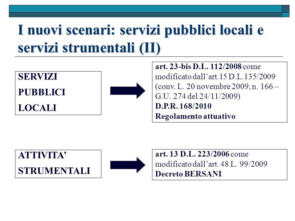 I nuovi scenari: servizi pubblici locali e servizi strumentali (II) SERVIZI PUBBLICI LOCALI ATTIVITA STRUMENTALI art.