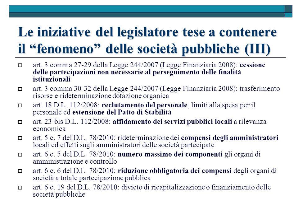 Le iniziative del legislatore tese a contenere il fenomeno delle società pubbliche (III) art.