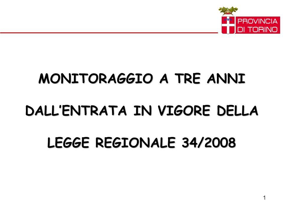 1 MONITORAGGIO A TRE ANNI DALLENTRATA IN VIGORE DELLA LEGGE REGIONALE 34/2008