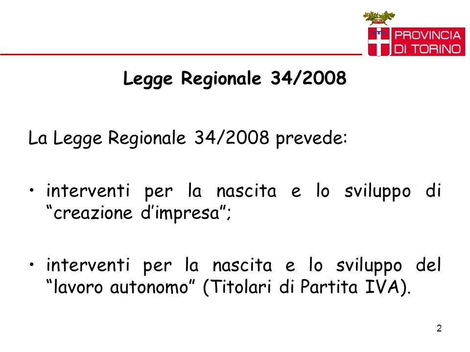 2 Legge Regionale 34/2008 La Legge Regionale 34/2008 prevede: interventi per la nascita e lo sviluppo di creazione dimpresa; interventi per la nascita e lo sviluppo del lavoro autonomo (Titolari di Partita IVA).