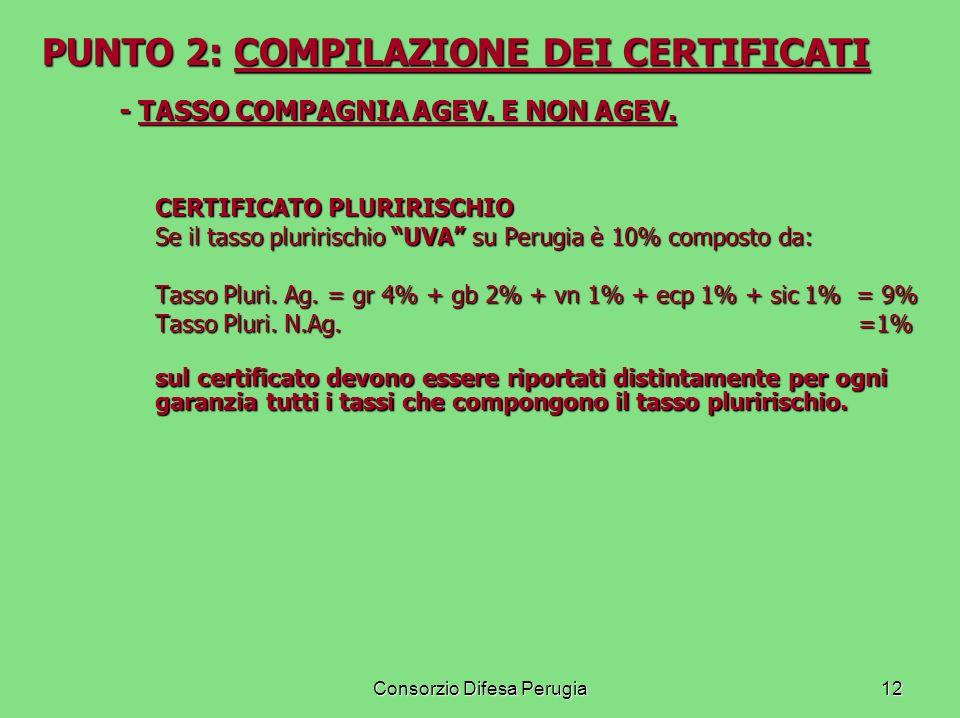 Consorzio Difesa Perugia12 PUNTO 2: COMPILAZIONE DEI CERTIFICATI - TASSO COMPAGNIA AGEV. E NON AGEV. CERTIFICATO PLURIRISCHIO Se il tasso pluririschio