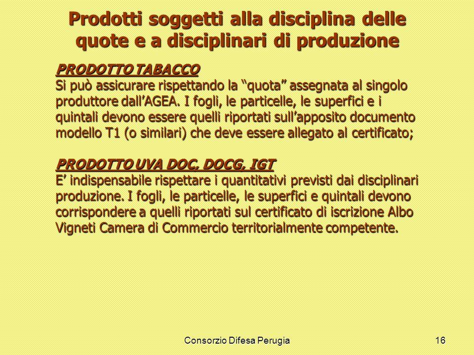 Consorzio Difesa Perugia16 Prodotti soggetti alla disciplina delle quote e a disciplinari di produzione PRODOTTO TABACCO Si può assicurare rispettando