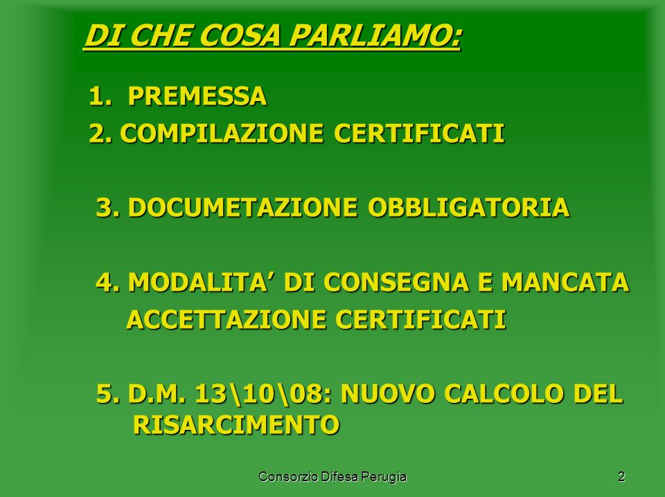 Consorzio Difesa Perugia2 DI CHE COSA PARLIAMO: 1. PREMESSA 2. COMPILAZIONE CERTIFICATI 3. DOCUMETAZIONE OBBLIGATORIA 3. DOCUMETAZIONE OBBLIGATORIA 4.