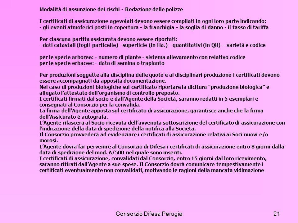Consorzio Difesa Perugia21 Modalità di assunzione dei rischi - Redazione delle polizze I certificati di assicurazione agevolati devono essere compilat